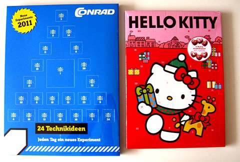 Ein Conrad-Technik-Adventskalender und ein Hello-Kitty-Adventskalender