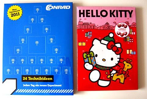 Ein Conrad-Technik-Adventskalender und ein Hello-Kitty-Adventskalender