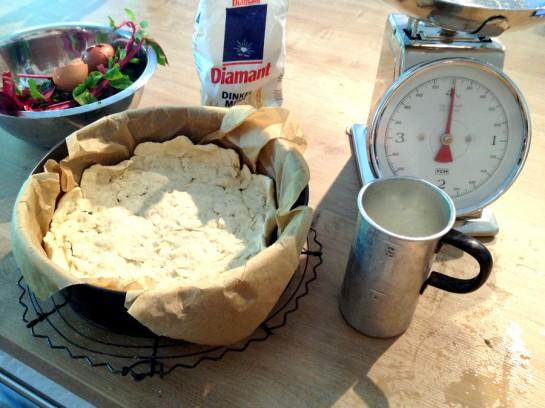 Mangold-Quiche in Vorbereitung