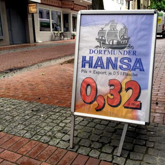 Plakat: Dortmunder Hansa 0,32 + Pfand