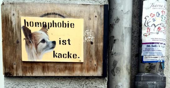 Schild in Hamburg-St. Georg: Homophobie ist kacke