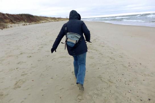 Nessy am Strand (Rückenansicht)
