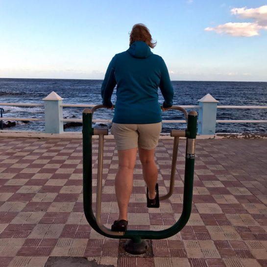 Frau Nessy von hinten auf einem Seniorenspielgerät am Meer