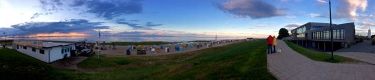 Dangast Strand: Panorama bei Sonnenuntergang