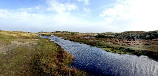 Norderney: Weg durch die Dünen zum Wrack, Wasserfluss