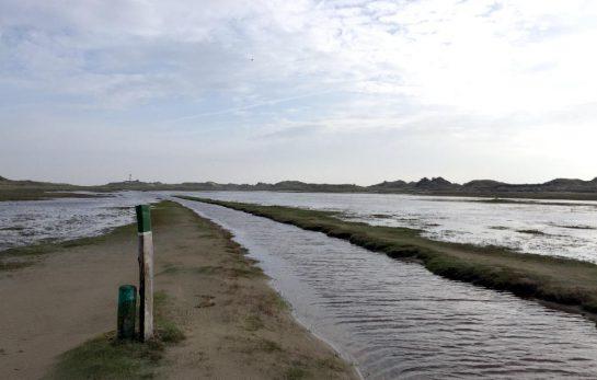 Norderney Ostende, überfluteter Wanderweg