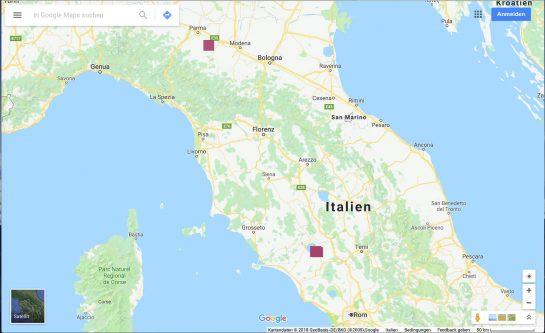 Landkarte mit eingezeichneten Zielen