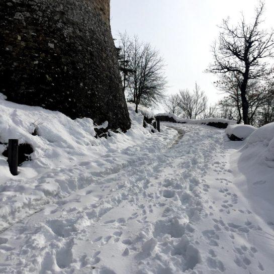 Rossena: Weg hinauf zu Burg