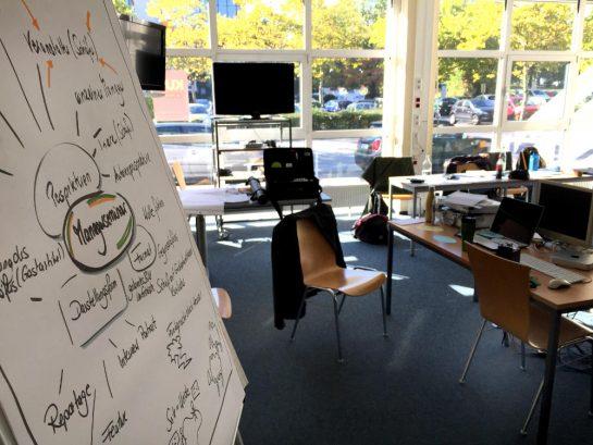Seminar: Beschriebenes Flichart, dahinter Tische und Stühle