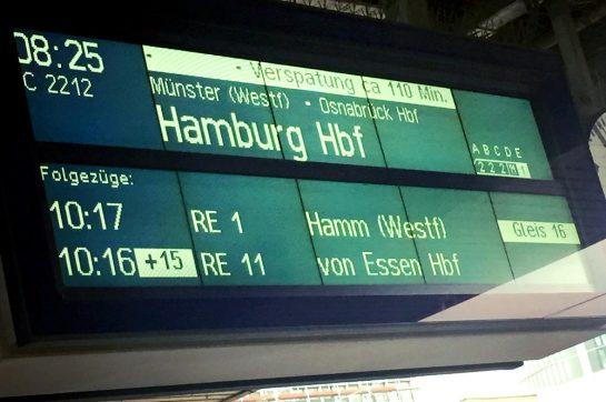 IC nach Hamburg, 110 Minuten Verspätung