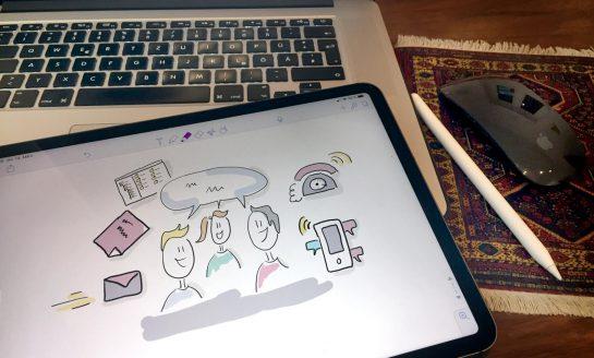 Digitale Zeichnung von Menschen, einem Telefon, einem Chatverlauf und anderen Gegenständen, die etwas mit Zusammenarbeit zu tun haben.