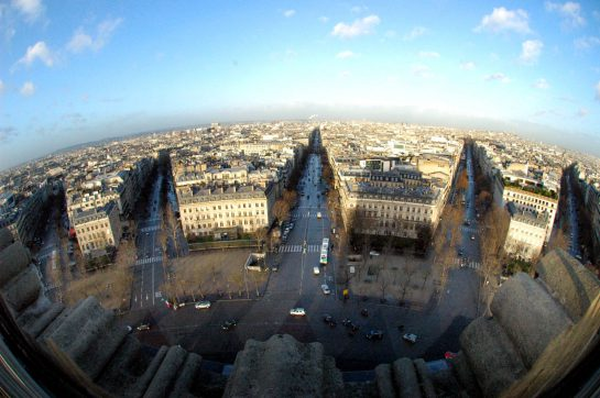 Blick vom Arche de Triomphe, Weitwinkel