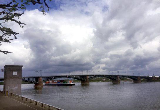 Blick vom Rheinufer auf einer Brücke, ein Binnenschiff fährt darunter her, beladen mit Containern.