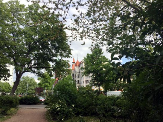 Bäume, dahinter Altbau in Kreuzberg