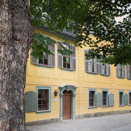 Schillerhaus: Gelbes Haus mit türkisen Fensterläden, davor ein Baum.