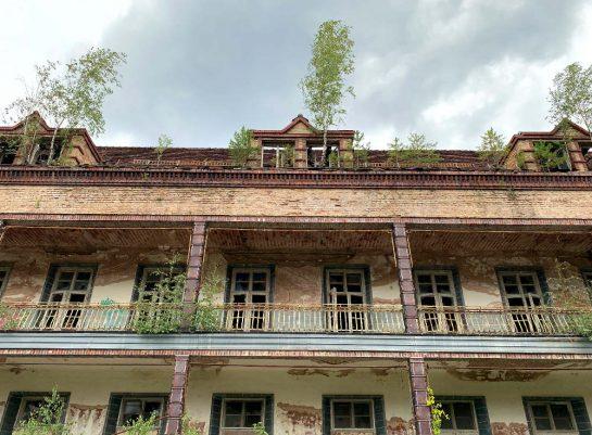 Chirurgiegebäude von außen: Balkone mit geschwungenen Geländern. Bäume wachsen darauf.