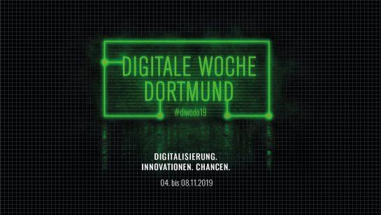 """Logo der Digitalen Woche Dortmund. Untertitel: """"Didigitalisierung, Innovationen, Chancen.  04. - 08.11.2019"""""""