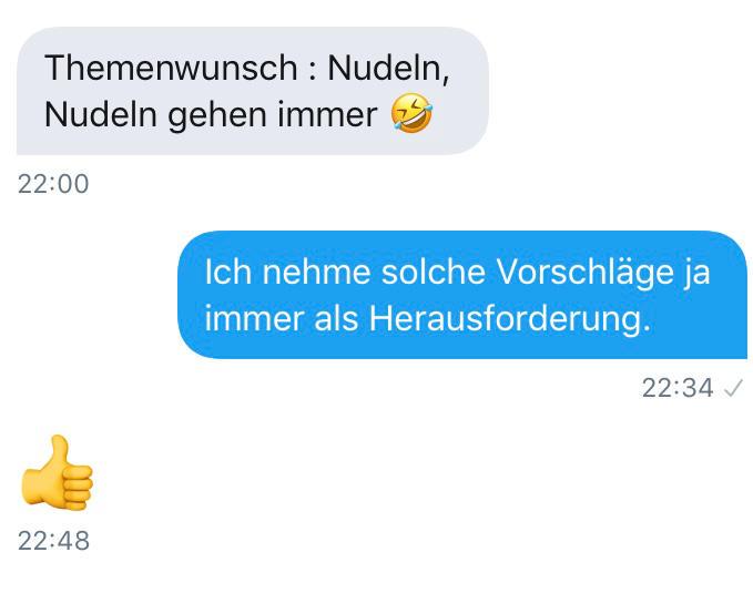 "Twitter, Direct Message. Text: ""Themenwunsch: Nudeln, Nudeln gehen immer."""