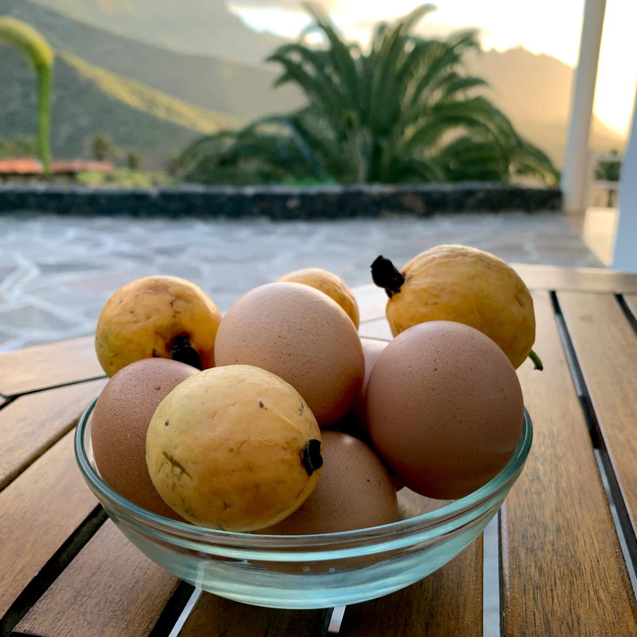 Eier und runde, gelbe Früchte in einer Schale