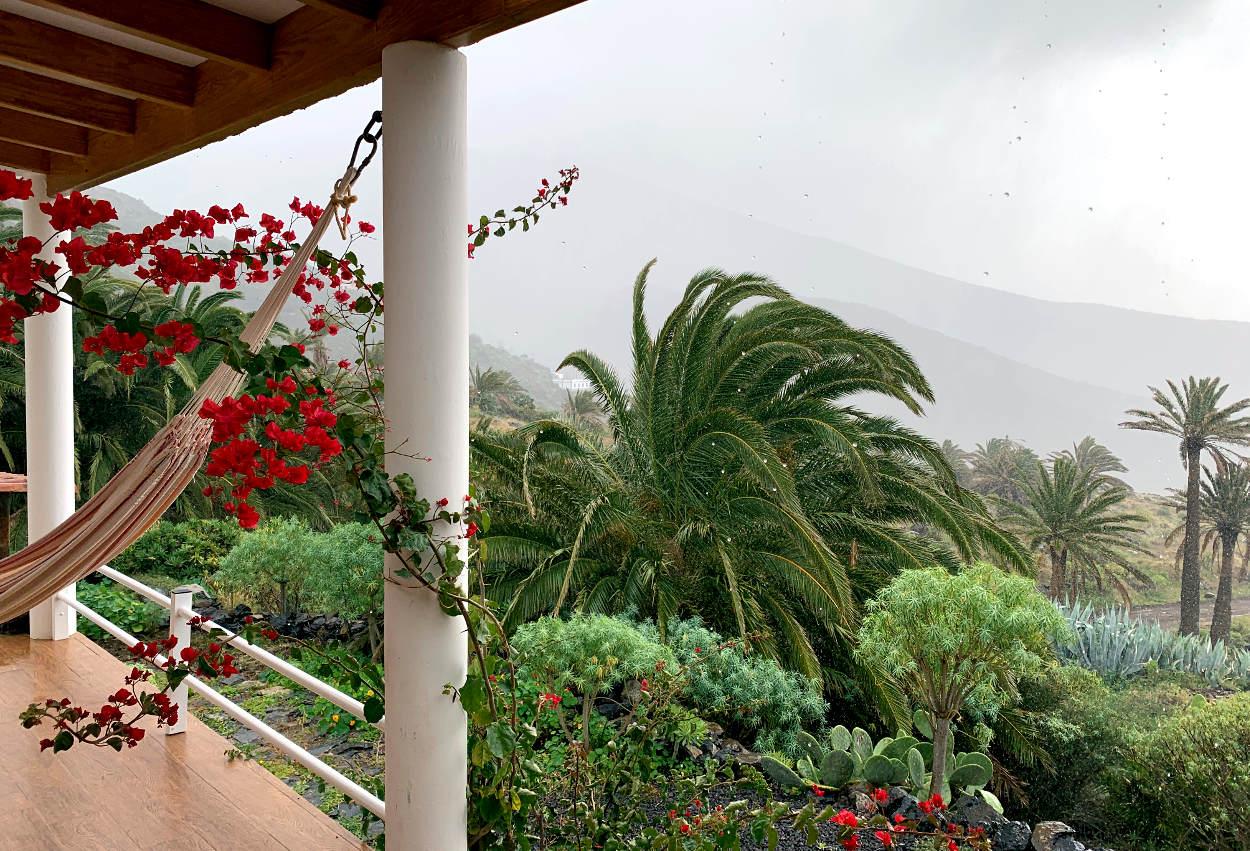 Blick ins Tal: Regen, tief hängende Wolken, Palmen im Wind.