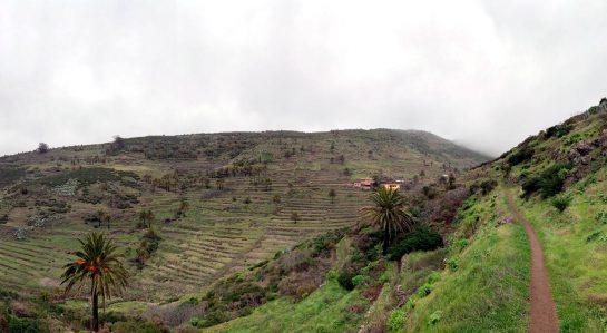 Tal von Los Manantiales: Terrassenfelder und einige Häuser