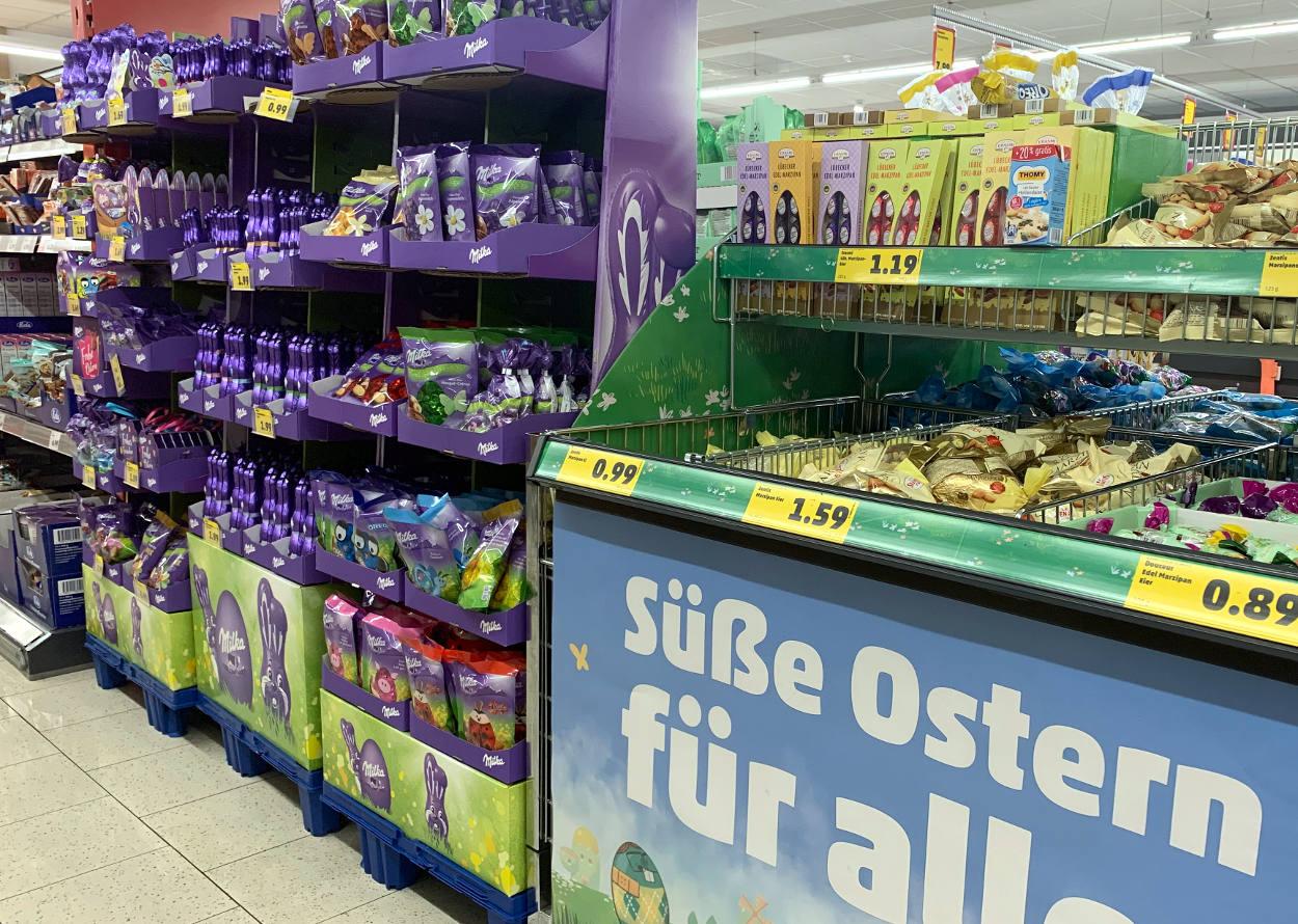 Ostersüßigkeiten im Supermarkt