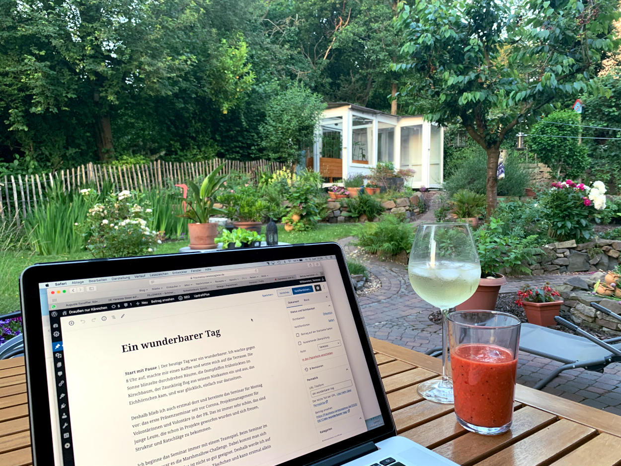 Laptop mit BLobeitrag im Backend, Weinglas und Erdbeersmothie, im Hintergrund der Garten