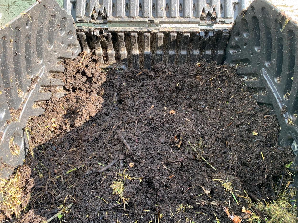 Blick in den Thermokomposter: Erse mit einigen Ästen, etwas Gras