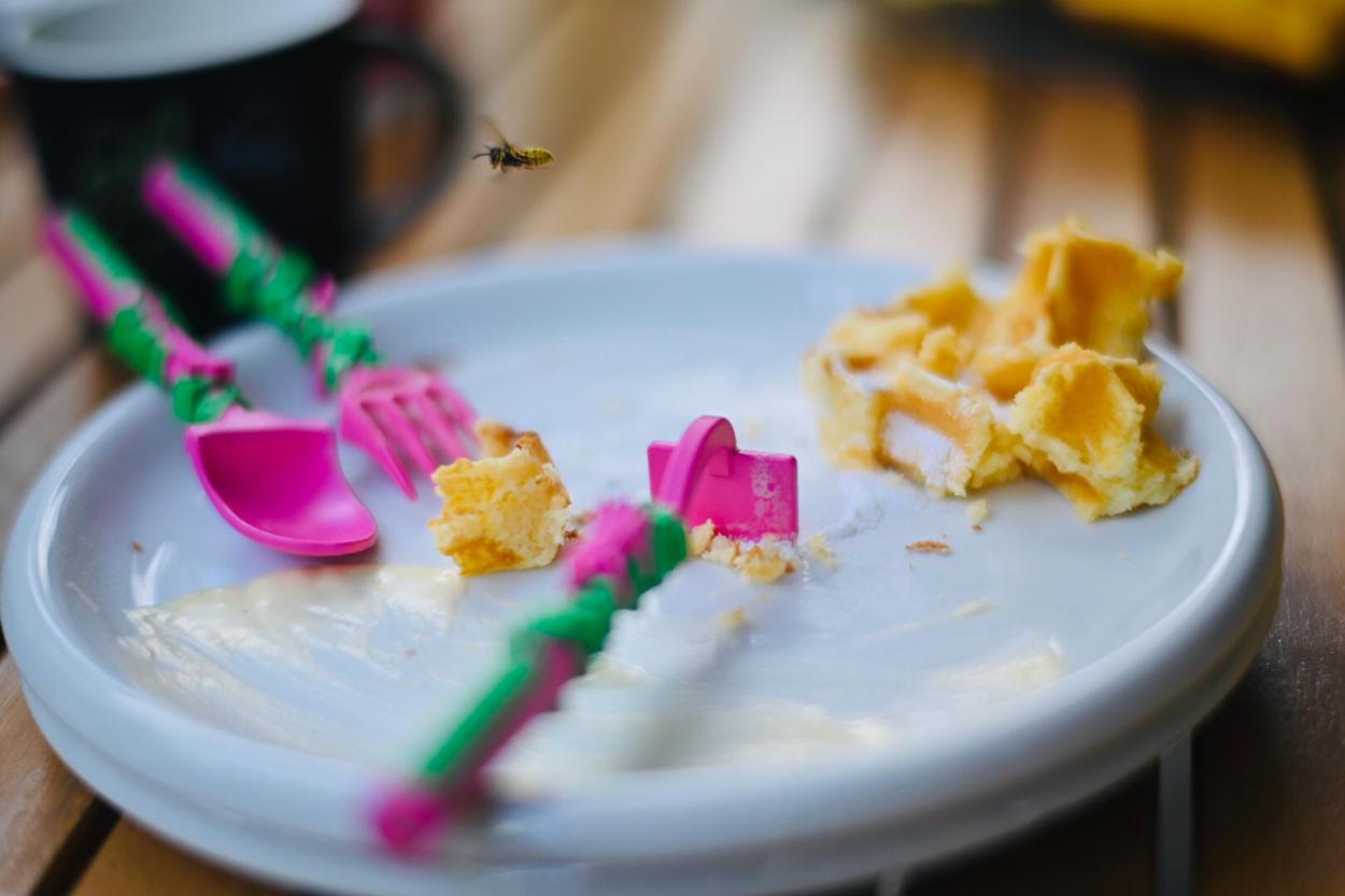 Teller mit Waffelrest, eine fliegende Wespe und Kinderbesteck