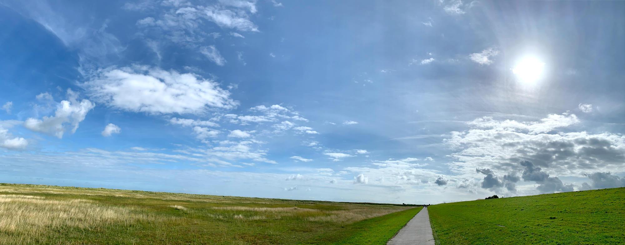 Weg am Deich, rechts der Deich, links Gras.