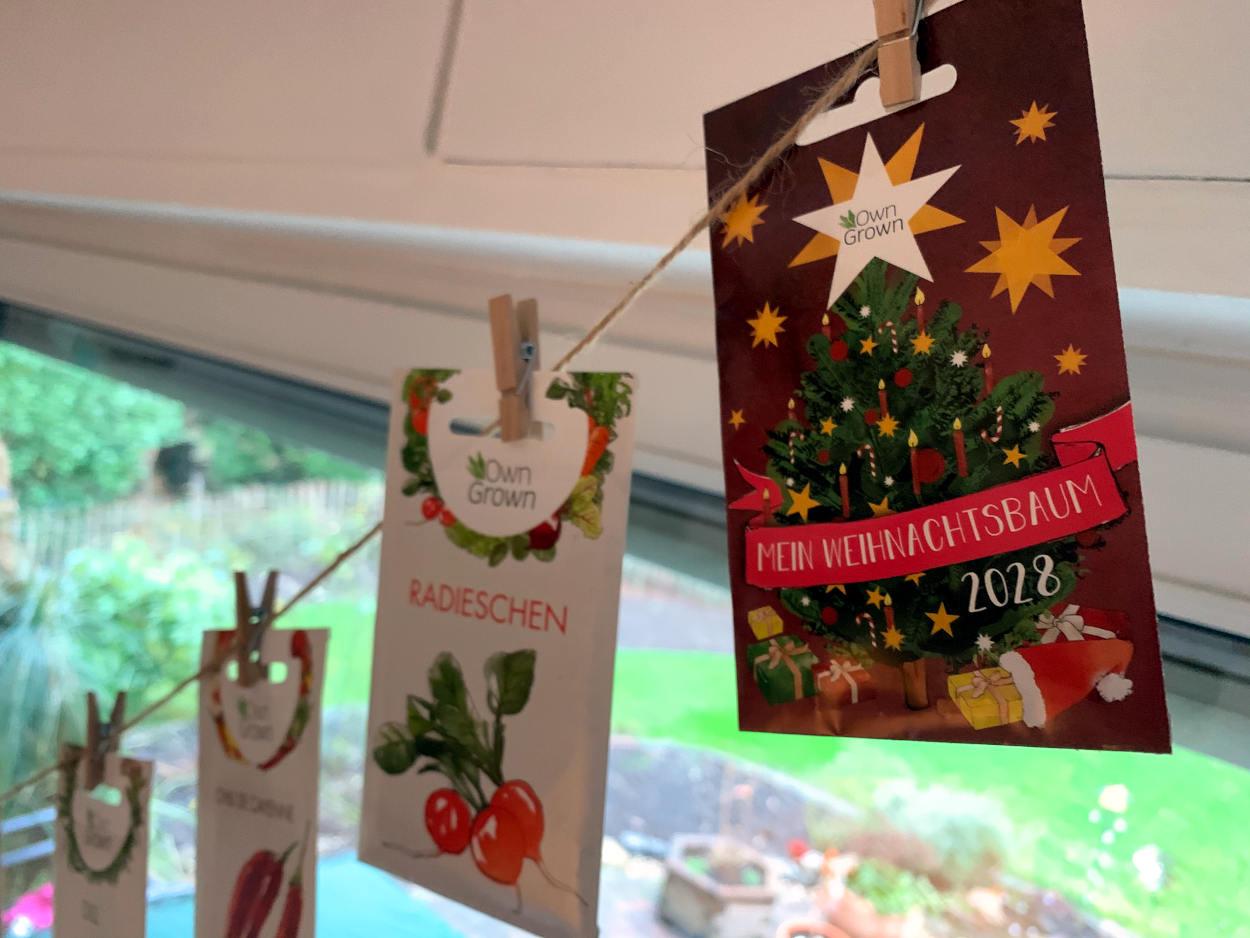 """Tüte mit Samen, Aufschrift """"Weihnachtsbaum 2028"""""""