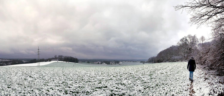 Panoramabild eines schneebedeckten Feldes, an dessen Rand eine Person geht